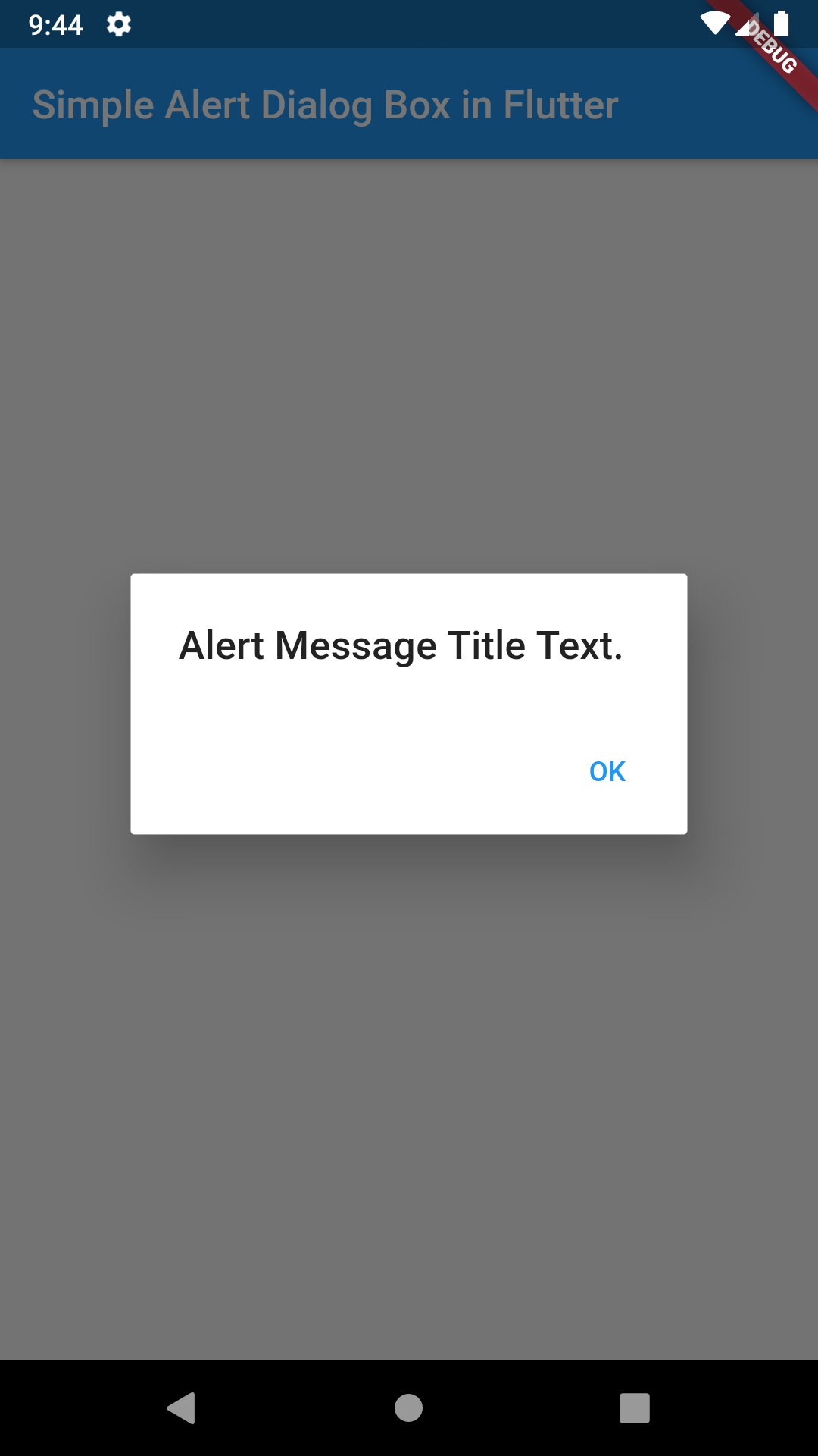 Create Simple AlertDialog Box in Flutter Android iOS Example Tutorial