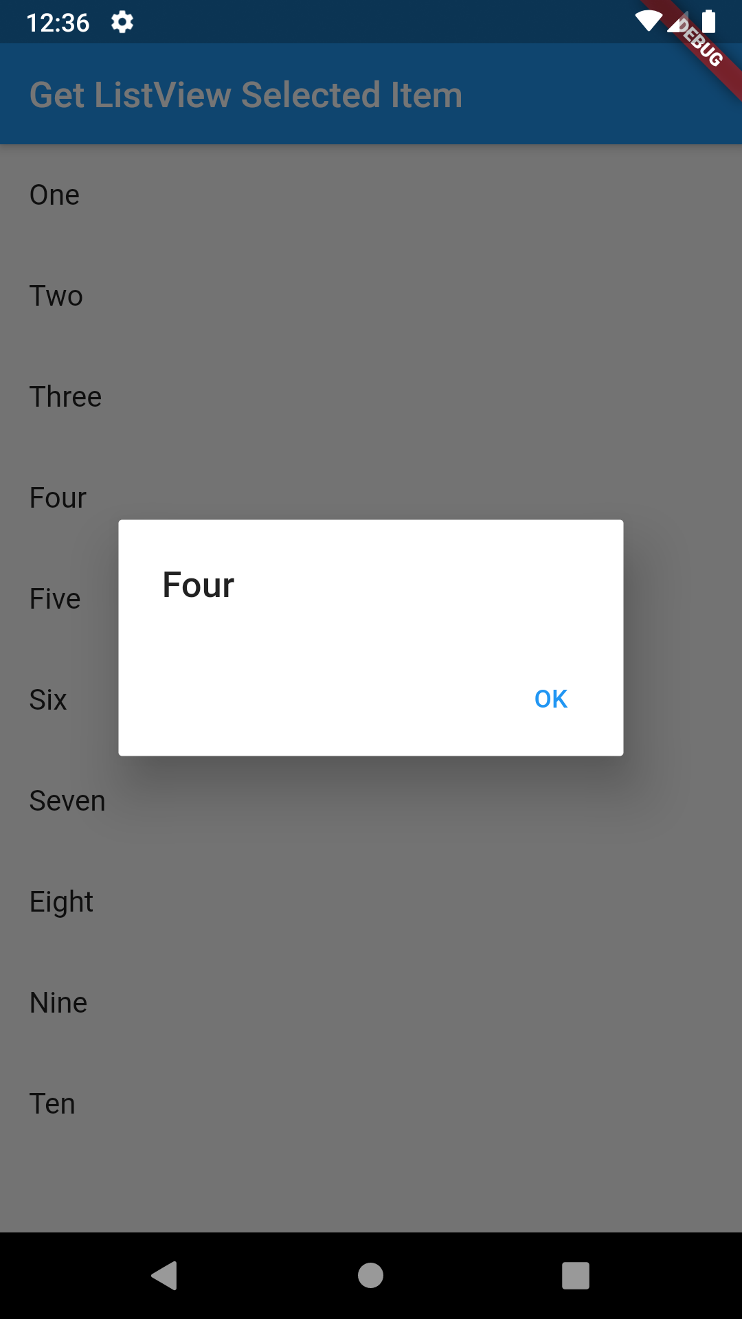 Show Get Selected Item From ListView in Flutter Android iOS Example