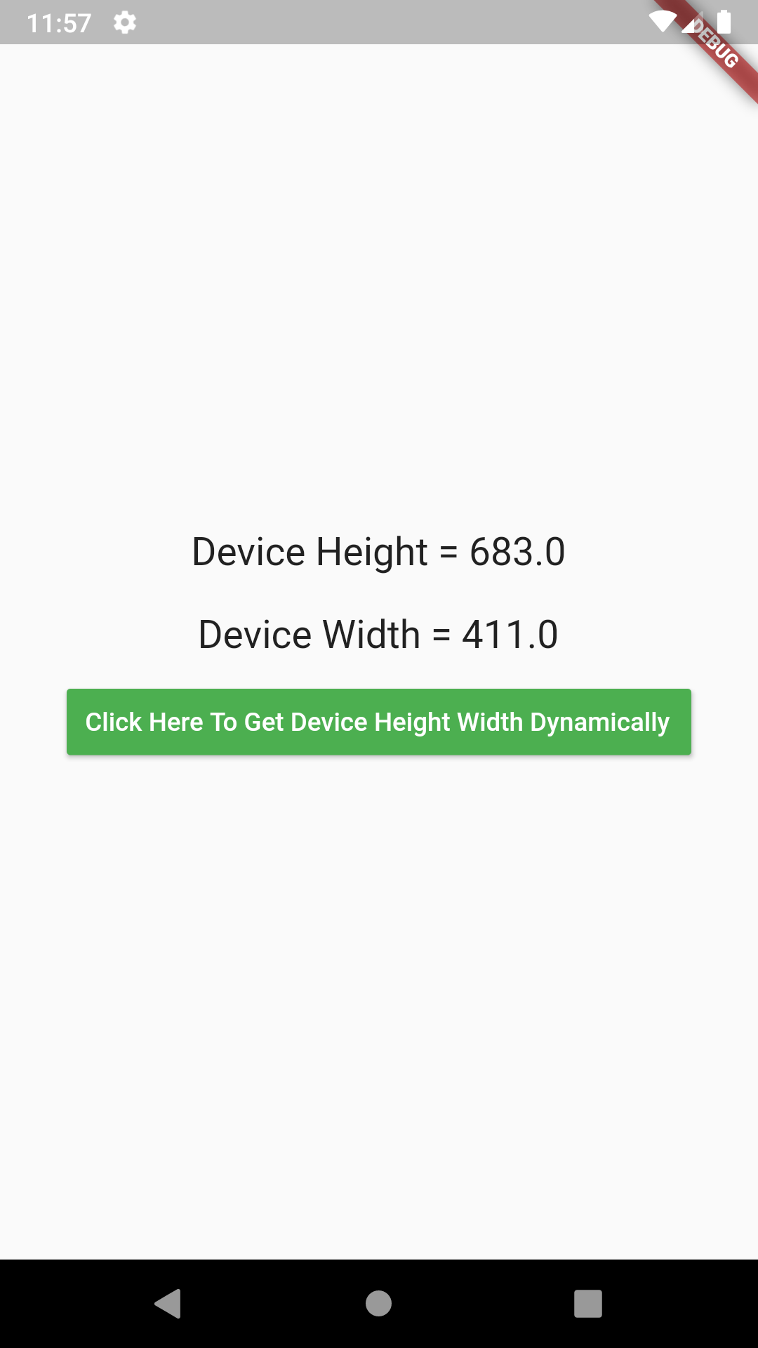 Get Device Screen Height Width in Flutter Dart Android iOS Example
