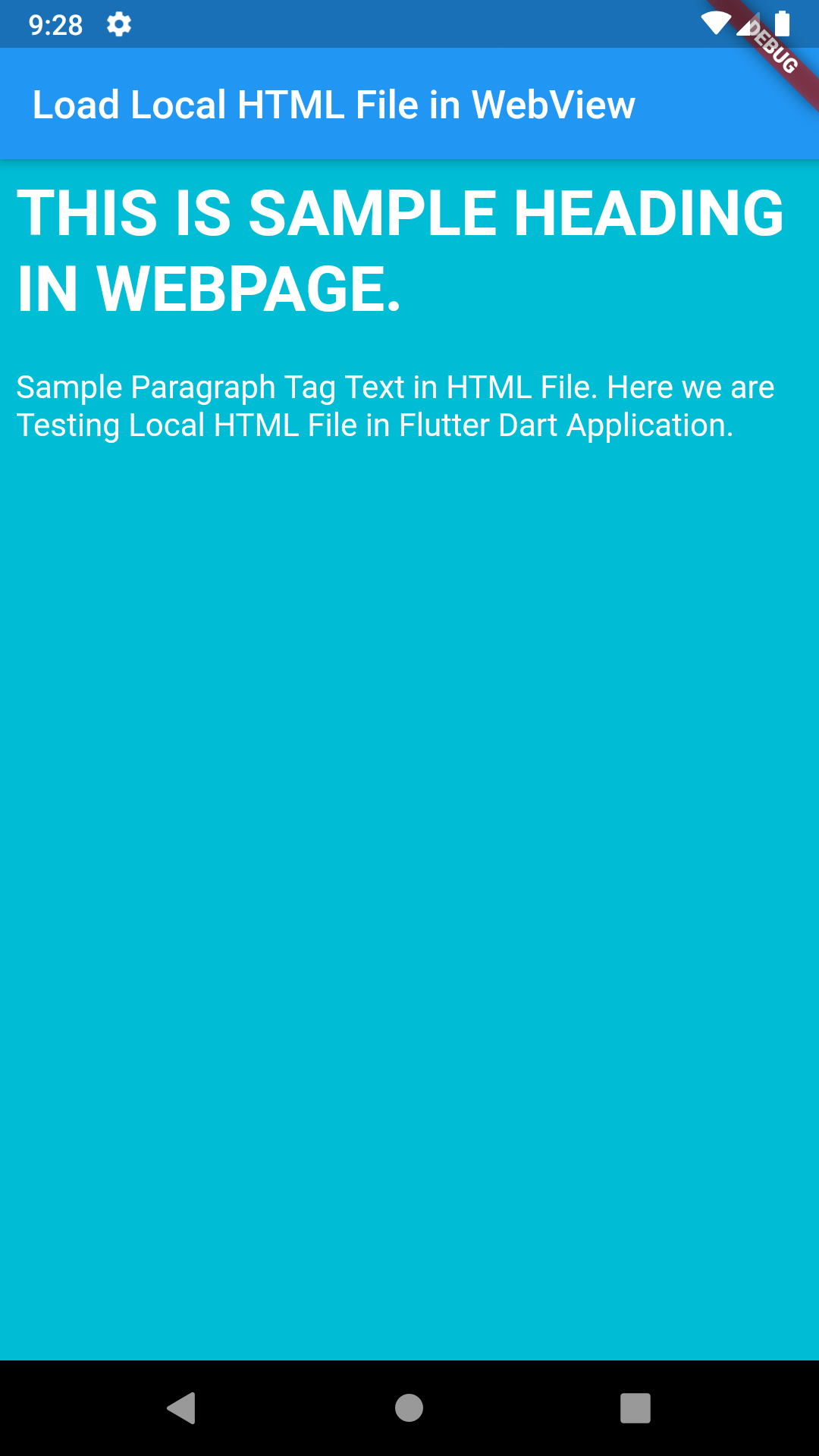 Flutter Load Local HTML File Placed in Assets Folder Example Tutorial