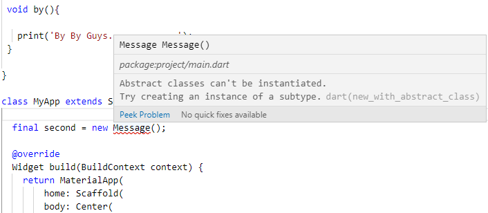Flutter Dart Abstract classes can't be instantiated Try creating an instance of a subtype Error Solution