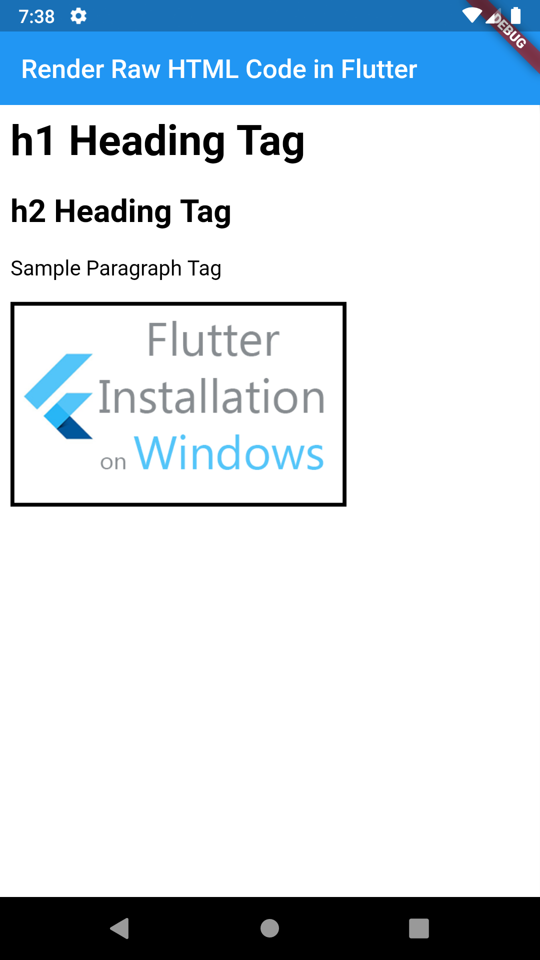 Flutter Render Raw HTML Code String in WebView Example Tutorial
