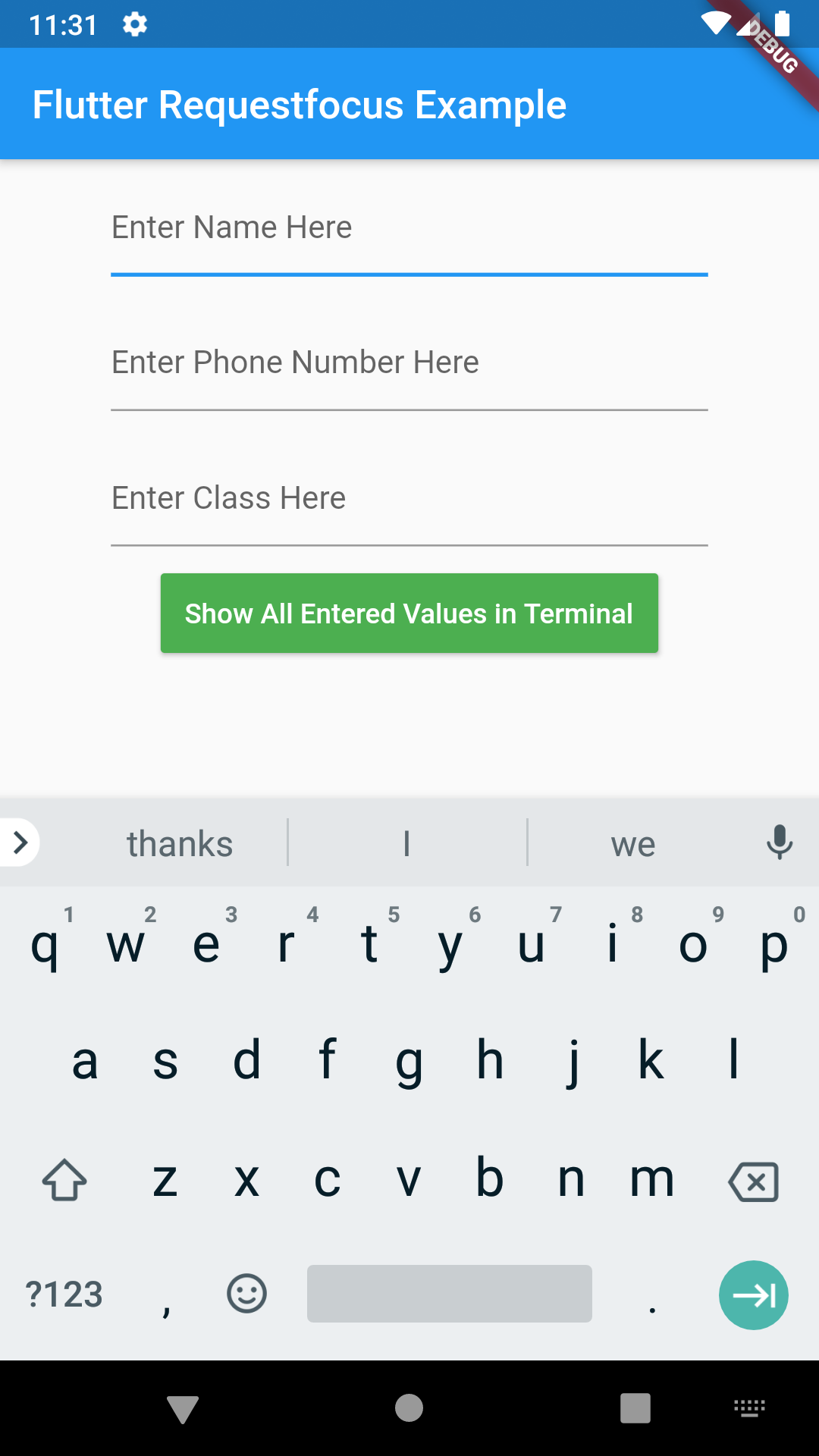 Flutter Show Next Text Field Select Button on Keyboard RequestFocus