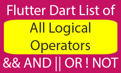 Logical Operators in Dart Flutter with Example