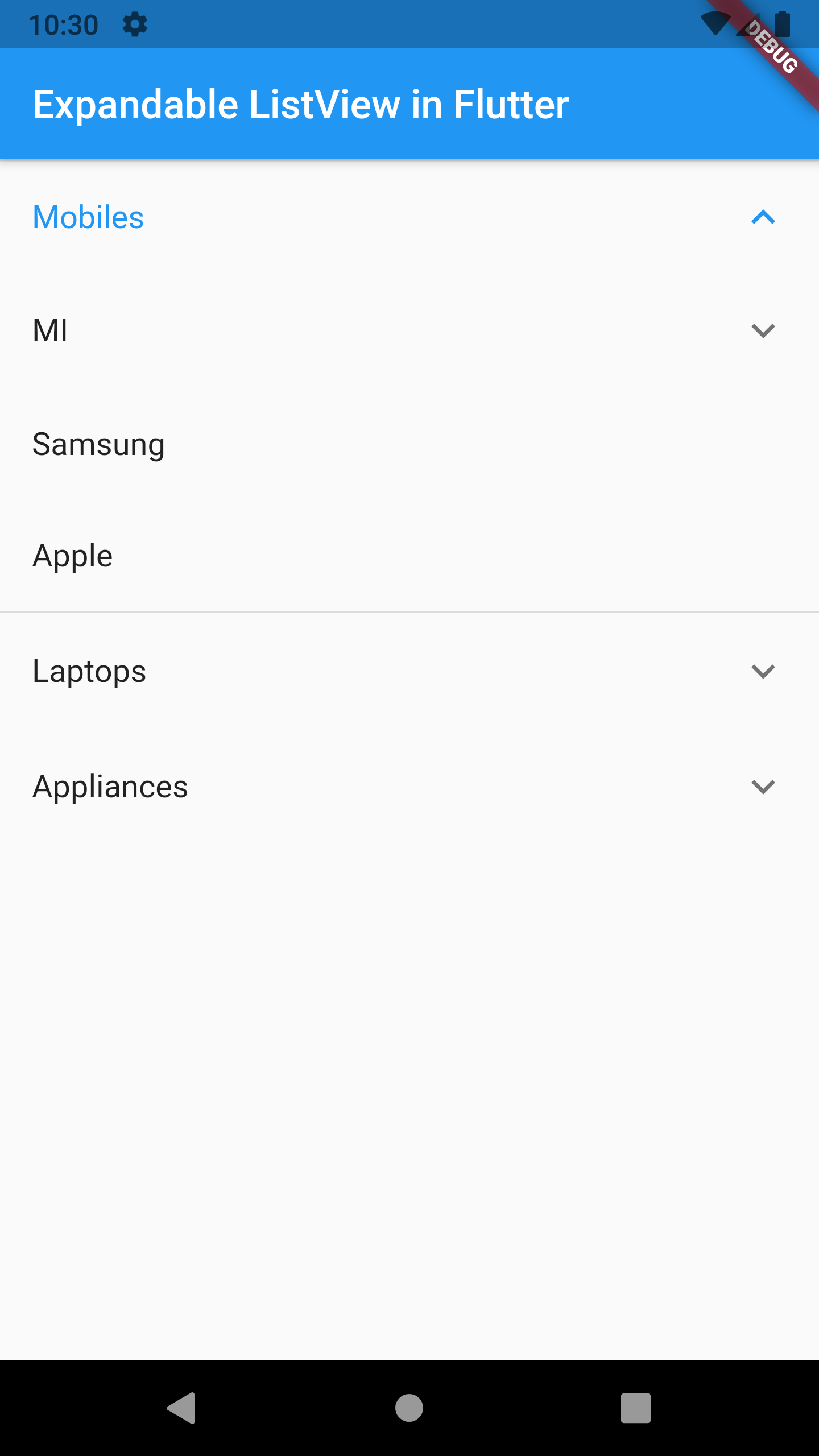 Example of Creating Expandable ListView in Flutter Android iOS