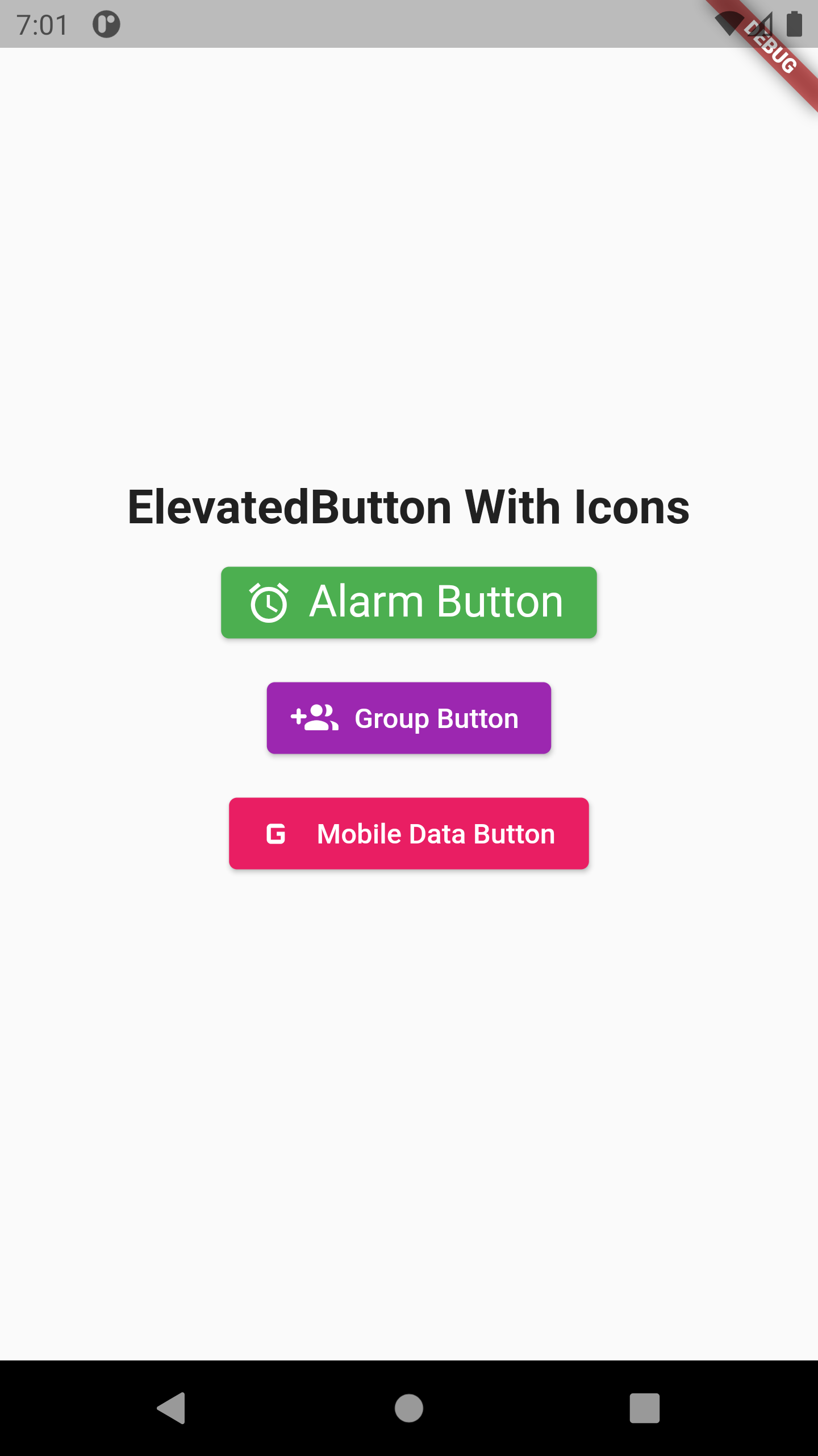 Flutter Creating Elevated Button with Material Icons Example